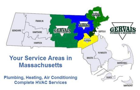 Gervais Plumbing Heating & Air Conditioning has one of the largest service fleets for 24 Hour Emergency Plumbing, Heating & Air Conditioning Systems in Massachusetts